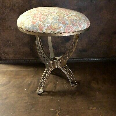 Antique Ornate Cast Iron Industrial Piano Stool ~ Vintage Vanity Chair ~ Stool