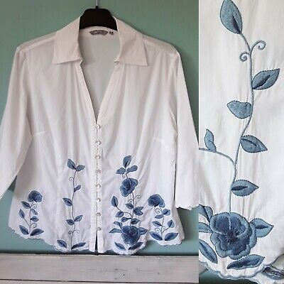 b95af3b3218ba1 Per Una M&S White Blue Embroidered Blouse Shirt Top Size 12 Summer Holiday
