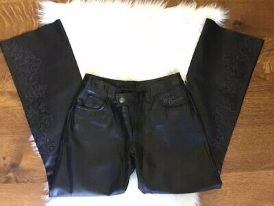 Harley Davidson Black Leather Bootcut Women's Pants Size 2 EUC