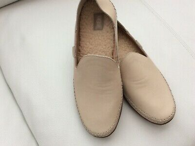 a34b4d395aa UGG AUSTRALIA ELODIE Wool Lined Leather Slippers 1020235 Cream Shoes ...