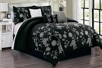 7 Piece Embroidery Black White Gray Comforter Set King Size Linen Plus NEW
