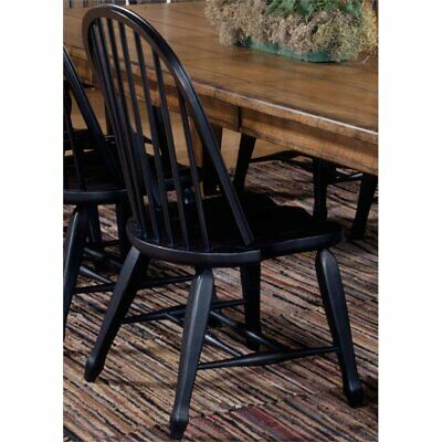 Liberty Furniture Treasures Bow Back Dining Side Chair in Rustic Black