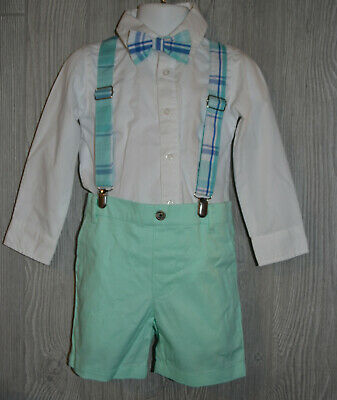 Crown & Ivy Boy's Button Front Shirt And Shorts Set Teal Blue Size 3T NWOT