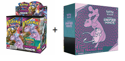 Pokemon Tcg Sun & Moon Unified Minds Booster Sealed Box + Elite Trainer Box