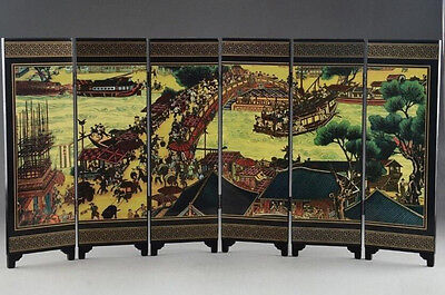 Chinese Lacquer Ware Hand Painting Qingming Festival Home Screen Decor