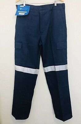 Brandworx Cotton Work Tradie Blue Cargo Trousers with Reflective Tape Size 92R