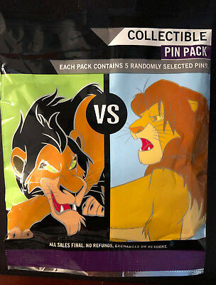 Disney Collectible Pin Pack GOOD VS EVIL Mystery Bag of 5 Pins Sealed in Canada