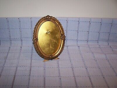 Brass Standing Oval Victorian Picture Frame - Metal Back and Stand