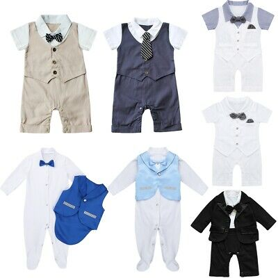 980a4ed3 Baby Boy Tuxedo Romper Newborn Gentleman Outfit Suit Infant Formal Party  Clothes