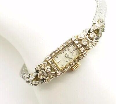 Antique Geneve 14k White Gold Ladies Diamond Watch 32 Diamonds Swiss Made 17J