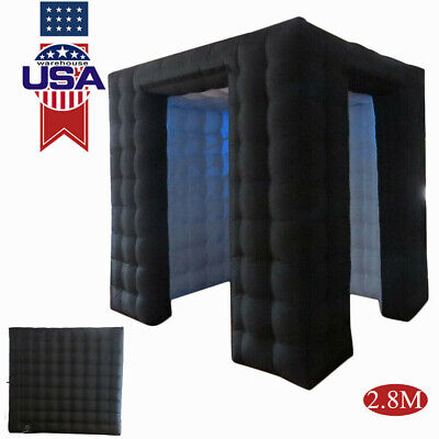 2.8m Inflatable Photo Booth LED Lighting Tent Birthday Party Double Door 9ft USA