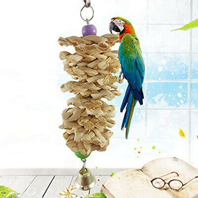 Parrot Bird Toys Natural Wooden Grass Chewing Bite Hanging Cage Bell-Swing Climb