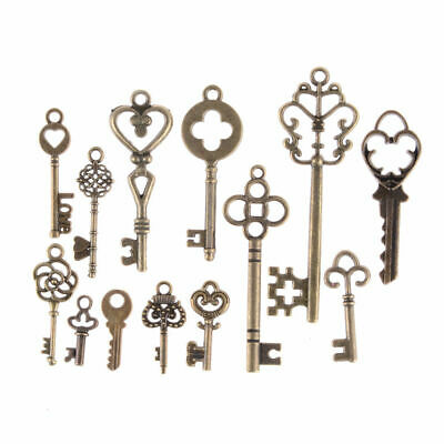 x13 Jewellery Antique Vintage Old Look Skeleton Keys Tone Charms Pendants Decor