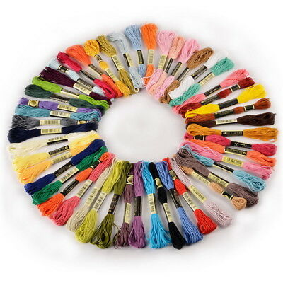 50Pcs 100% Cotton Embroidery Thread Cross Stitch Floss Sewing Skeins Mixed Color