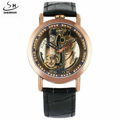SHENHUA Men's Transparent Automatic Mechanical Watches Crystal Skeleton Dial