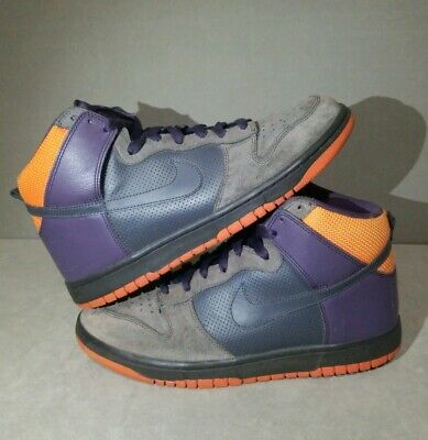 buy popular 0561d e92f7 Nike Dunk High Top Grey Purple Orange Suede Leather Shoes Size 10.5