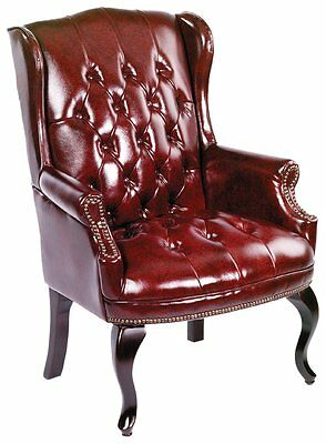 Boss Office Products B809-BY Wingback Traditional Guest Chair In Burgundy  New
