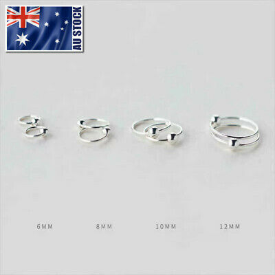 925 Sterling Silver Hoop Ring Bead Sleeper Earrings Lip Ear Nose Body Piercing