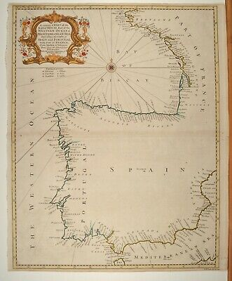 Bay of Biscay Coast of Spain Portugal Karte Map 1720 Original Antique Seale