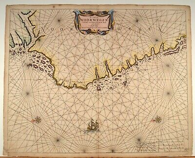 Noorwegen Sea Chart Original Seekarte ca 1660 by IacobTheunis Norway Norwegen