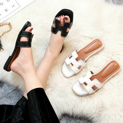 Fashion Ladies Leather Slippers Slip On Mules Womens Sandals Casual Shoes Size