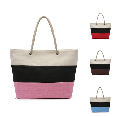 Womens Large Multi-Color Canvas Wide Compartment Tote Handbag Shoulder Hobo Bag