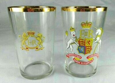 Queen Elizabeth Coronation 1953 Glasses Set Of 2