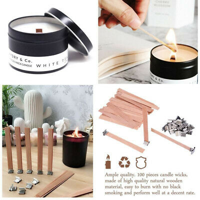 Wood wick- Genuine Wooden Wicks for Candle Making DIY Candle 100 Pcs -13cmx1.3cm