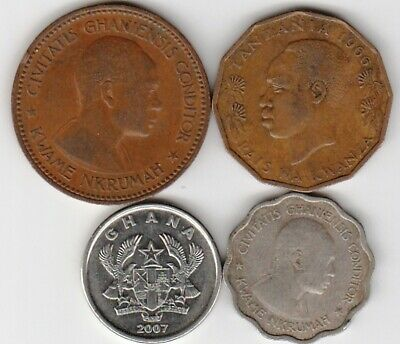 4 different world coins from GHANA