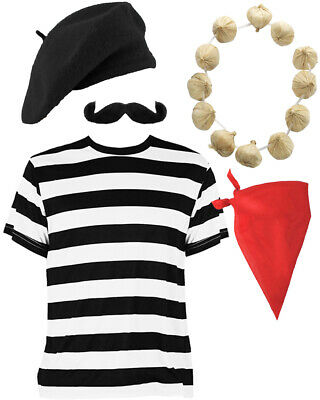 ADULTS 4 PIECE FRENCH SET BASTILLE DAY LADIES MENS FRANCE FRENCHMAN FANCY DRESS
