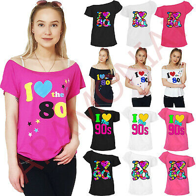 I Love The 80's T-Shirt Fancy Dress Retro Outfit Hen Party Pop Star Top Eighties