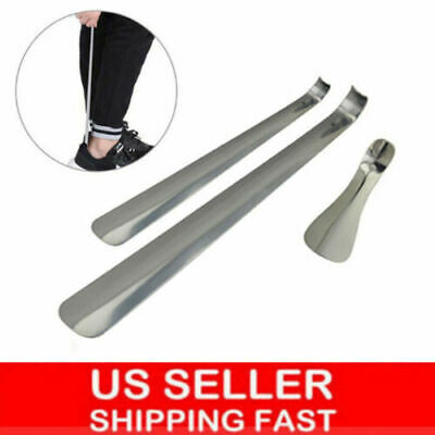 "6""-20"" Long Handled Metal Shoe Horn Lifter Stainless Steel with Hanging Hole"