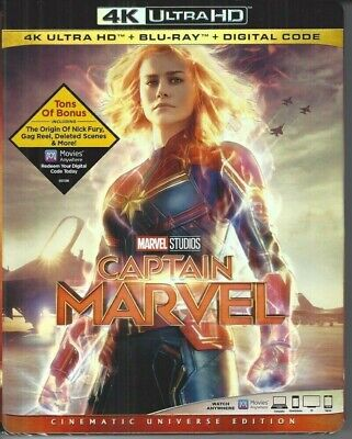 Captain Marvel(4K Ultra Hd+Blu-Ray+Digital) W/Slipcover & Exclusive Lithograph