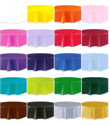 Disposable Round Plastic Table Covers 84in - in 20 colours GET THEM QUICK