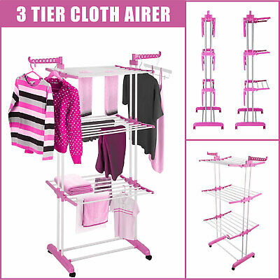 3 Tier Clothe Drying Rack indoor outdoor Foldable Dry Suit Stand Laundry Hanger