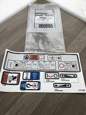 Wacker Neuson Plate Compactor Safety Operation Decal 117180  Spare Parts