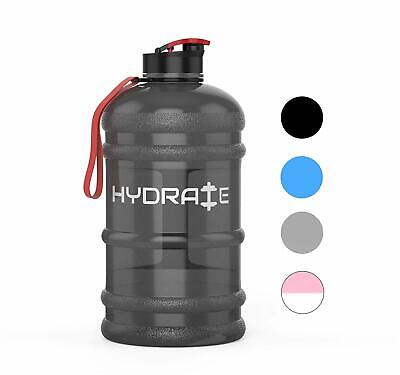 HYDRATE 2.2 Litre Water Bottle - Now With Easy Drink Cap - Durable & Black