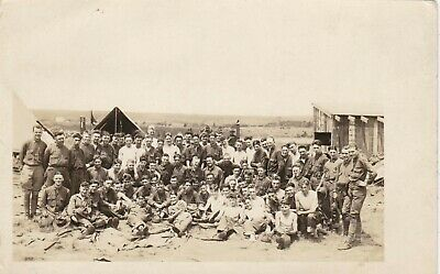 WWI ORIGINAL ARMY AZO RPPC- Military Camp- Formation- Tents