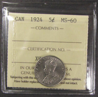 1924  Canada  5 Cent  coin    ICCS grading  MS-60