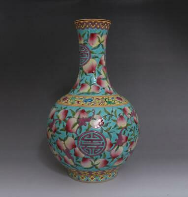 Old Rare Chinese Famille Rose Porcelain Peach Vase Yongzheng Marked 35Cm (E13)