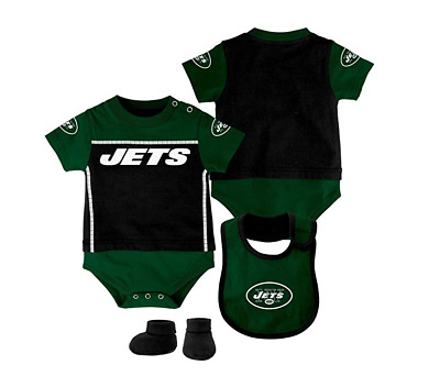 Outerstuff NFL Infant New York Jets Creeper, Bib and Bootie Set