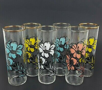 """(6) Vintage Federal Floral Highball Drinking Glasses 6.75"""" Tall Flower Glass"""