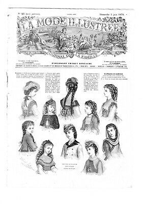 MODE ILLUSTREE SEWING PATTERN June 5,1870 - Travelling costume, bonnets...