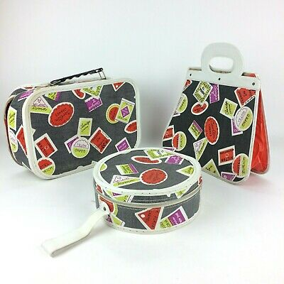 3 Pc. 50's 60's Girl's Child Size Small Suitcase Hotel Resort Travel Case Bags