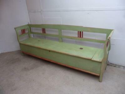 An Art Deco Antique/Old Pine Shabby Chic Green/Red 4/5 Seater Box Settle/Bench