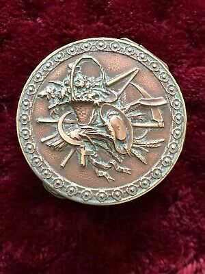 ANTIQUE FRENCH BRASS & COPPER ENGRAVED PILLS BOX for a gardener 1 1/2""