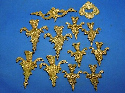 Lot of Mixed Brass Ormolu Drawer Desk Decor - People, Decorative Filigree