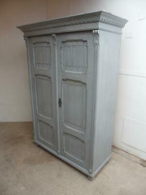 A Lovely Victorian Duck Egg Blue Shabby Chic Antique/Old Pine Cupboard/Wardrobe