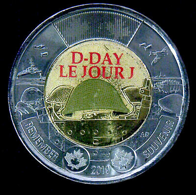 2019 Canada  D-Day (color) Toonie,  $2   UNC. from roll