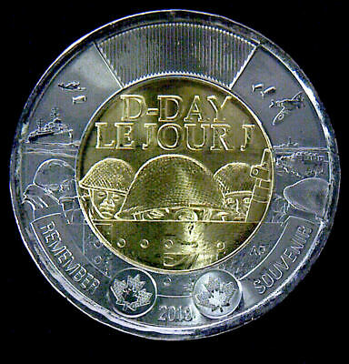 2019 Canada  D-Day  Toonie,  $2   UNC. from roll